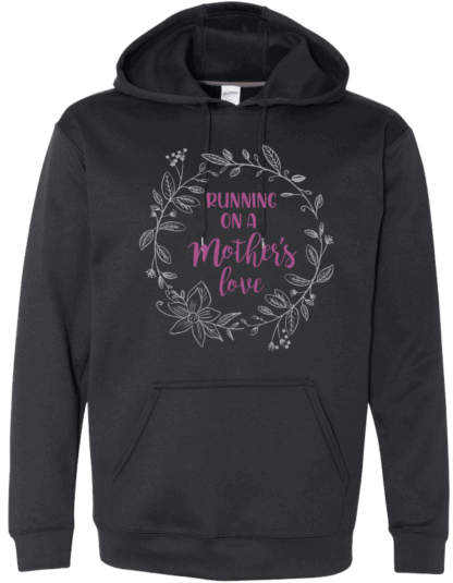 Black hoodie with wreath design and Running On A Mother's Love purple text