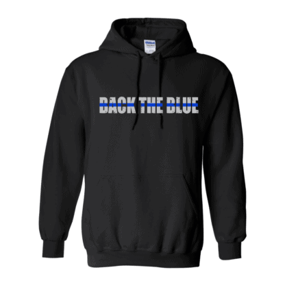 back the blue hoodie front