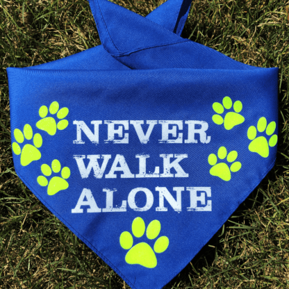 blue dog bandana says never walk alone